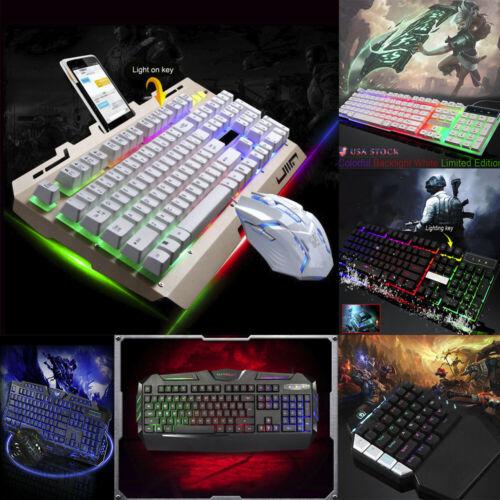 Gaming Keyboard  LED Illuminated Backlit USB Wired PC Rainbow For PUBG LOL Gamer