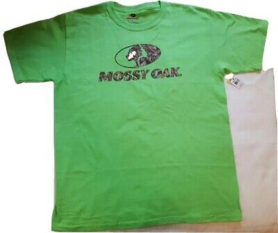 Mossy Oak Dark Green T-Shirt Camo Logo Tee Polyester Solid Back Size Medium