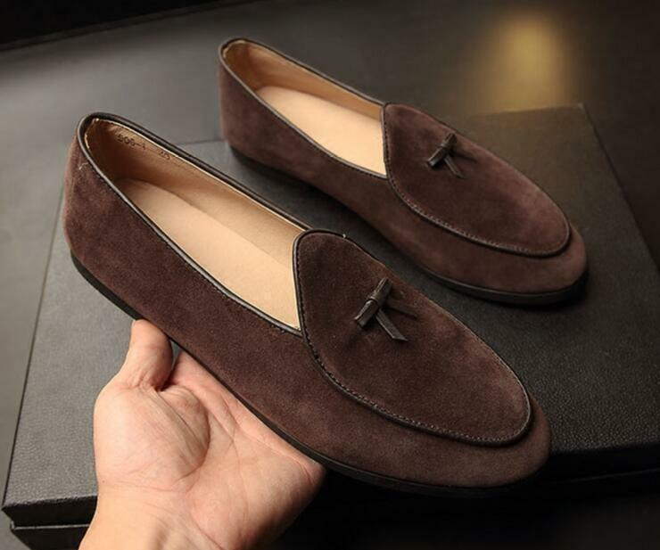 Men Leather Slippers Loafers Slip on Flats Bowtie Belgian Dress shoes Oxfords US