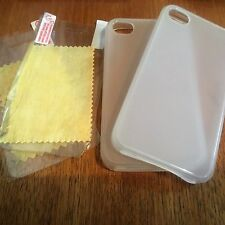 SET OF 2 SILICONE RUBBER GEL CASE COVERS SKINS = APPLE iPHONE 4 4S - CLEAR WHITE