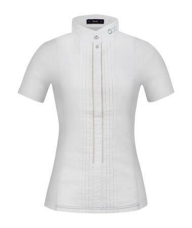 Cavallo Women's tournament shirt Gitana white stand-up  collar elastic ruffles an  sale outlet