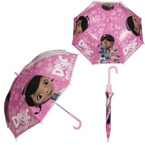 Doc McStuffins Pink Umbrella Stylish PVC Girls Waterproof Gift New Disney Lambie