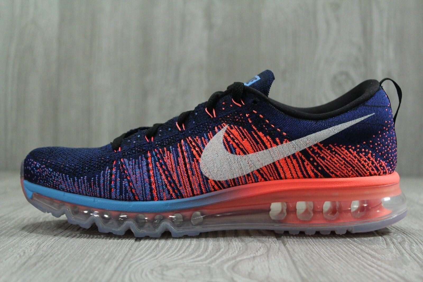 34 Nike Flyknit Max Running shoes Navy bluee Lava Mens Sz 10, 10.5 620469 008