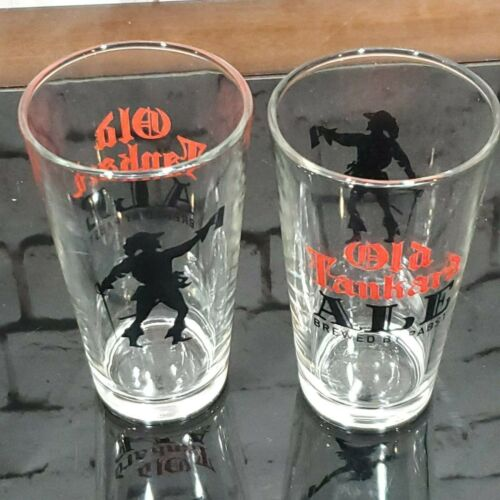 2 New Pabst Old Tankard Ale Glasses Cups 16 OZ Swashbuckler logo
