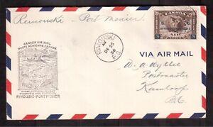 CANADA-1936-FIRST-FLIGHT-COVER-C4-CATALOG-20-RIMOUSKI-PORT-MENIER