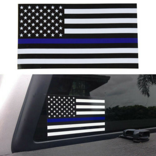 5 PCS Police Officer Thin Blue Line American Flag Decal Car Sticker Graphic