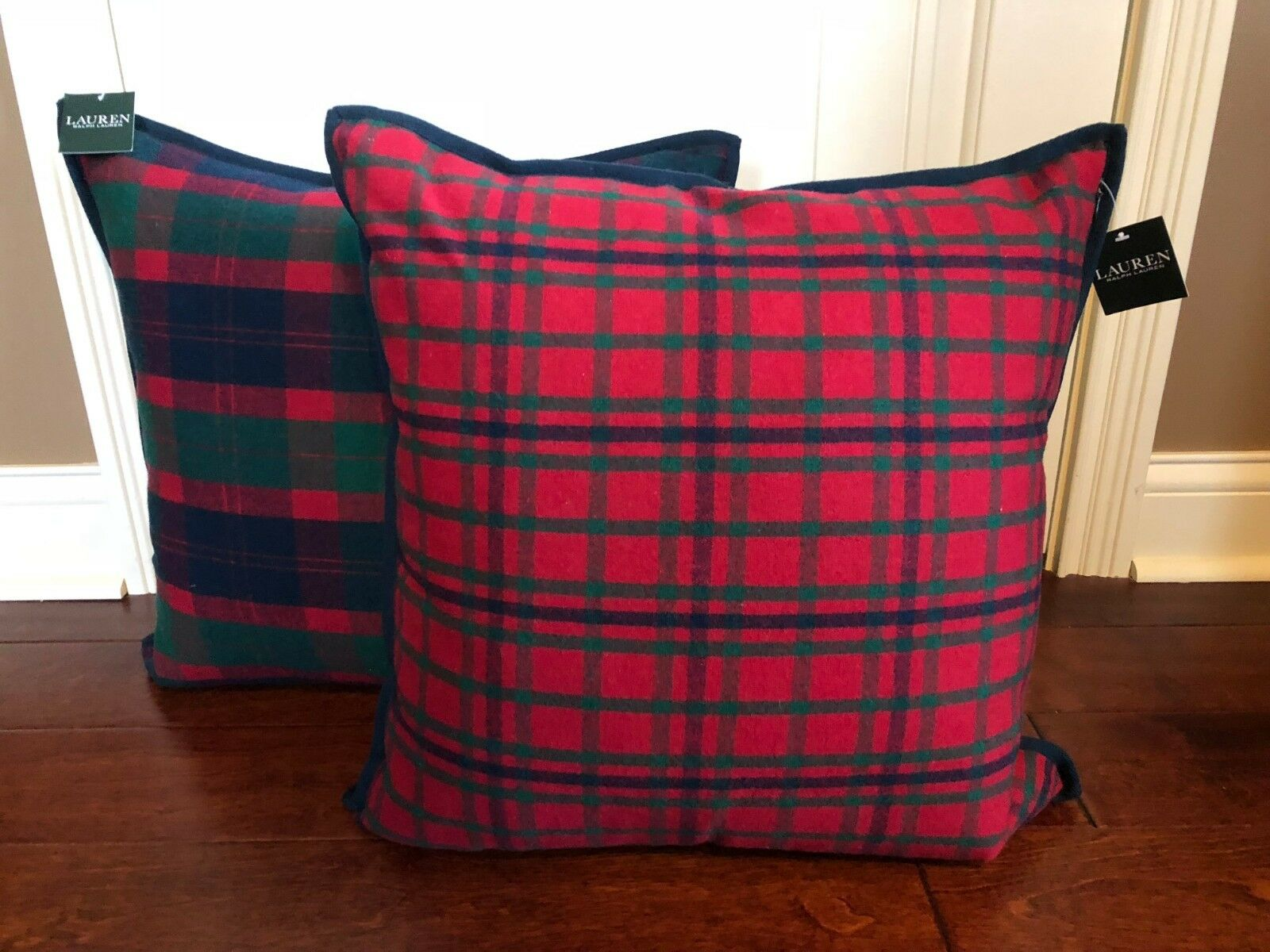 1 RALPH LAUREN TKunstan Plaid DECORATOR THROW PILLOW Feather REVERSIBLE NWT