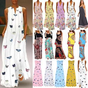 Farfalla-da-Donna-Boho-maxi-vestito-Smanicato-ESTATE-SPALLINE-Fiori-Abito-Da-Spiaggia-48