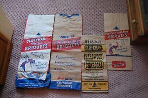 4-NOS-Cliffchar-Charoal-Briquets-Bags-Cliff-Dow-Chemical-Marquette-Michigan