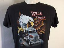 Vtg 1986 3D Emblem Truckers Only Wild & Free T-Shirt Black M/L 80s 50/50