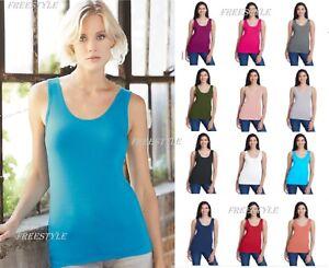 Anvil Womens Stretch Tank Top Ladies Sleeveless Tee Cami Shirt 2420L XS-2XL