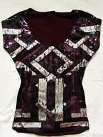 Bebe Maroon Silver Black Sequin Beaded Shirt Top Small S