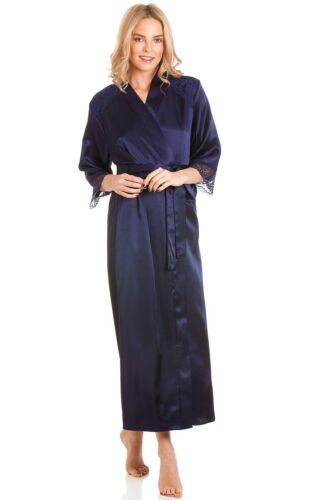 LADIES LONG SATIN ROBE WRAP DRESSING GOWN VARIOUS COLOURS  PLUS SIZES 10-24