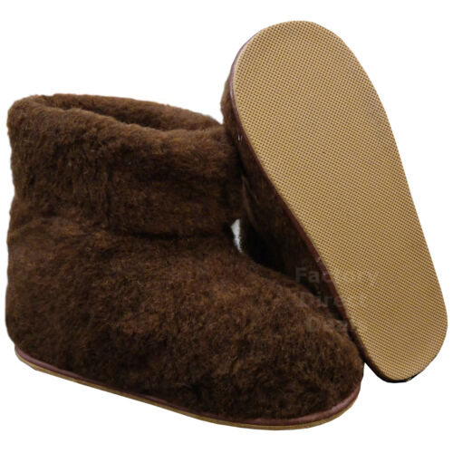 100/% Sheep Wool Boots Cozy Foot Slippers Hard Sole Sheepskin Womens Mens Brown