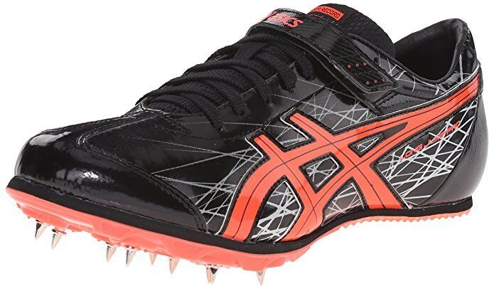 Asics LONG JUMP  PRO Men's G606Y Black/Flash Coral/Silver Track & Field SZ 14 US