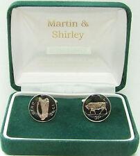 1992 IRELAND cufflinks made from OLD IRISH 5p COINS in black & Silver