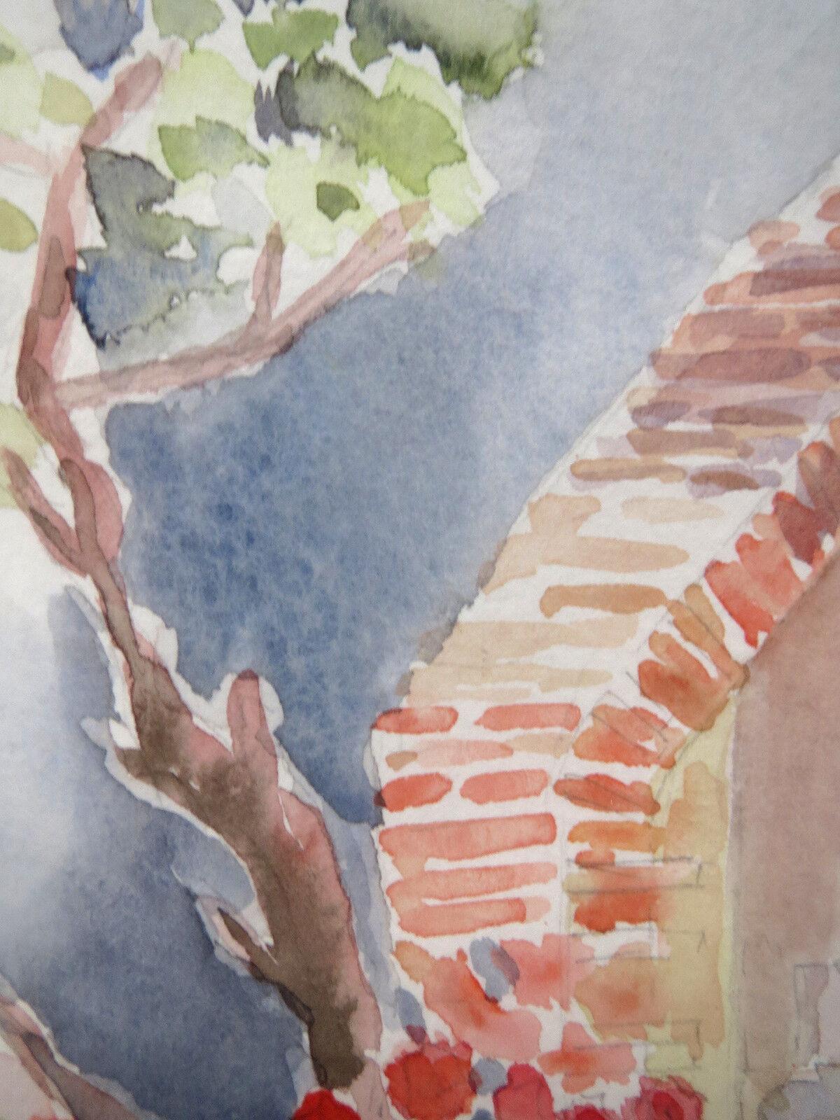 Français Impressionniste Paysage Aquarelle Peinture Signée Signée Peinture Madame Lardeur 617c52