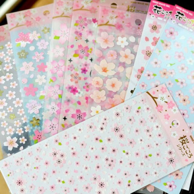 Japaneses Cherry Blossom Stickers Sakura Flower Floral Craft Scrapbook Card #178