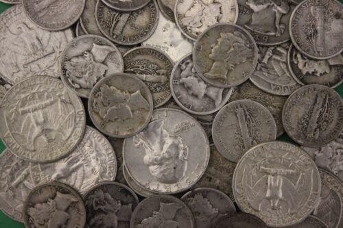 MAKE OFFER 1 Troy Ounce Mercury Dimes Washington Quarters 90/% Silver Junk Coins