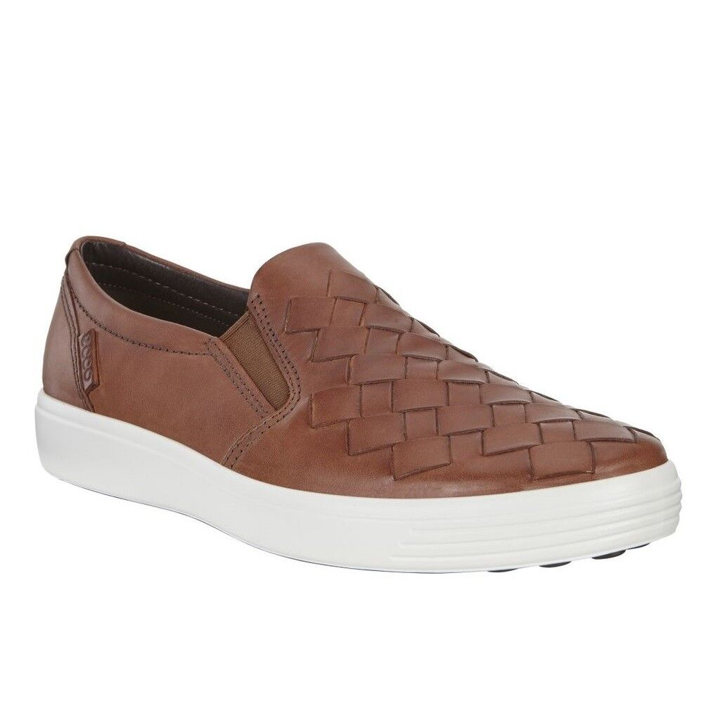 Ecco Men's Soft 7 Woven Slip On Sneaker Leather Comfort Loafer Mahogany