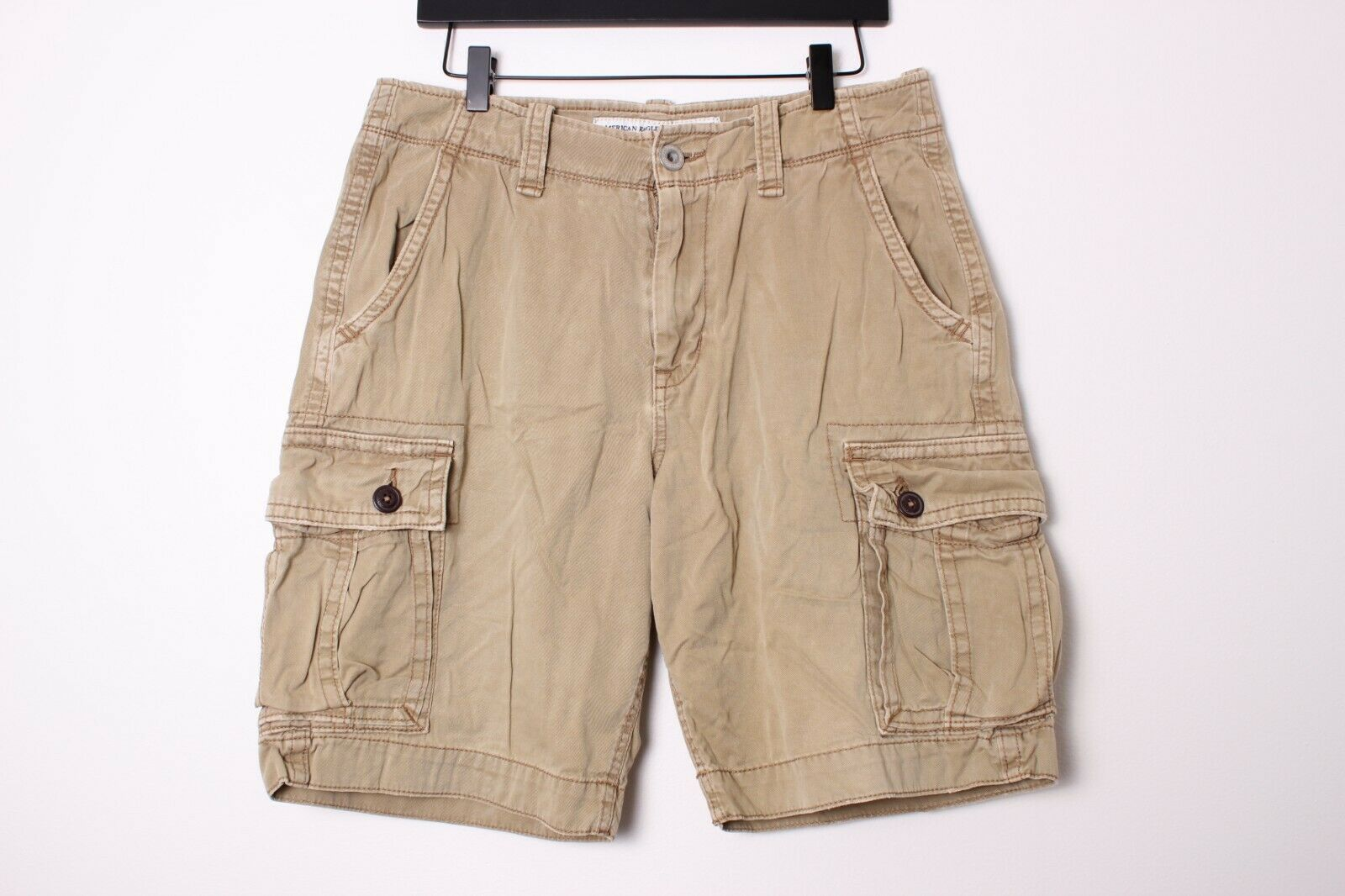 American Eagle Classic Fit Tan Khaki Cargo Shorts - 32