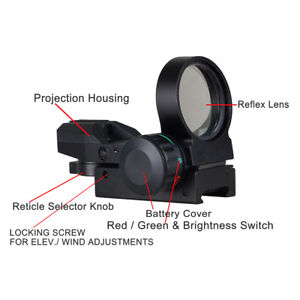 Holographic-Laser-Sight-33mm-Scope-Reflex-4-Red-Green-Dot-Reticle-Picatinny-Rail