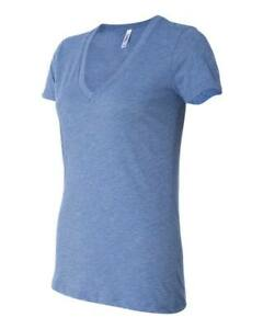 Bella-Ladies-Triblend-Deep-V-Neck-T-Shirt-Blue-TriBlend-Small