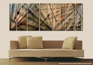 Image Is Loading Large Modern Hand Painted Gold Metal Wall Art
