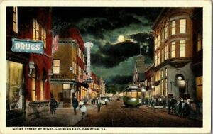 1917-QUEEN-STREET-AT-NIGHT-HAMPTON-VA-POSTCARD-CK4