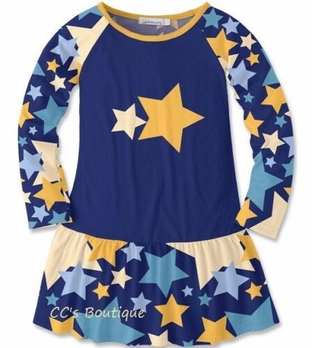 Girls SUNSHINE SWING navy blue stars dress 3T /& 10 NWT long sleeve ruffle hem