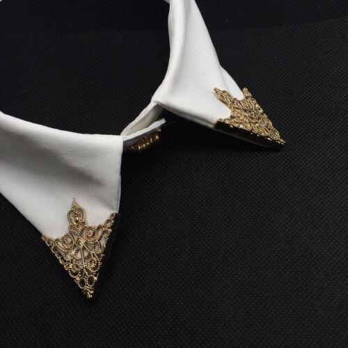 2pc Hohl Silber Gold Shirt Anzug Kragen Hals Tipp Brosche Kette Xmas Zubehör
