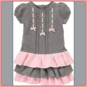 b8b8ee55e53 NWT 3T Gymboree GLAMOUR BALLERINA cotton GRAY PINK sweater DRESS 3 ...