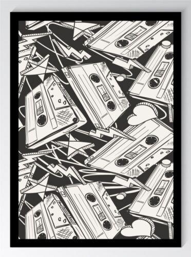 Bild DIN A4 A3 K0329 Zeichnung Retro Audio Tapes Kunstdruck Poster ungerahmt