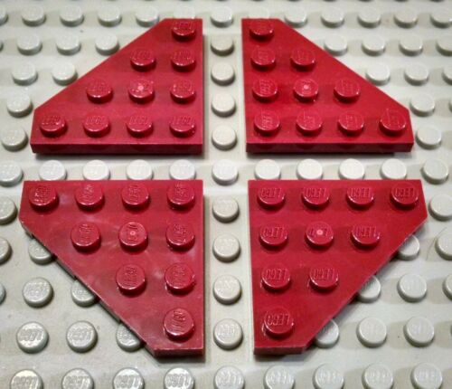 LEGO Lot of 4 Dark Red 4x4 Cut Corner Plates