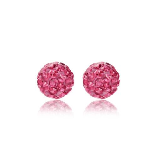 Plata esterlina 6mm Pink glitterball Cristal Andralok Aretes//Caja De Regalo
