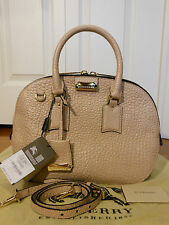 New Auth Burberry Heritage Orchard Bowling Leather Tote Shoulder Handbag Bag