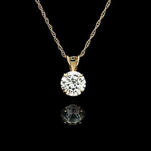 1CT-Round-Cut-VVS1-Diamond-Solitaire-Pendant-14K-Yellow-Gold-Over-Without-Chain