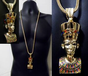 Pharaoh Iced Out CZ Egyptian King Pendant Sterling Silver 925 Yellow Small 35mm