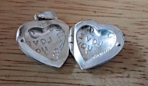 Sterling Silver 3D 21x20x10mm Movable says I love You Heart Locket Charm