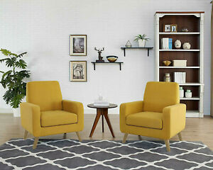 Arm-Accent-Chair-Fabric-Single-Sofa-Comfy-Upholstered-Living-Room-Citrine-Yellow