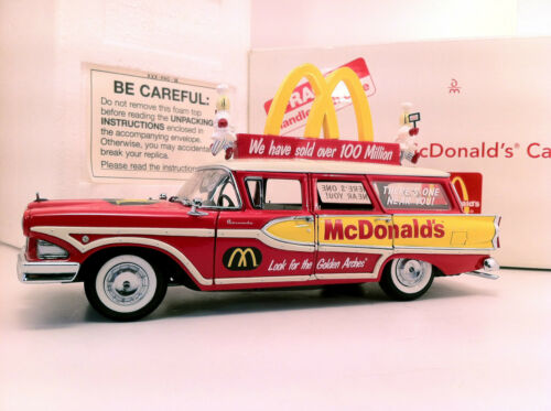 MCDONALD'S SCARCE DANBURY MINT 1958 EDSEL STATION WAGON OB TOUGH BOX + 2 Signs
