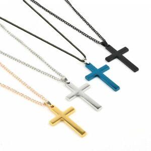 42e4d934cd Stainless Steel Cross Link Chain Men Metal Gold/Silver Pendant ...