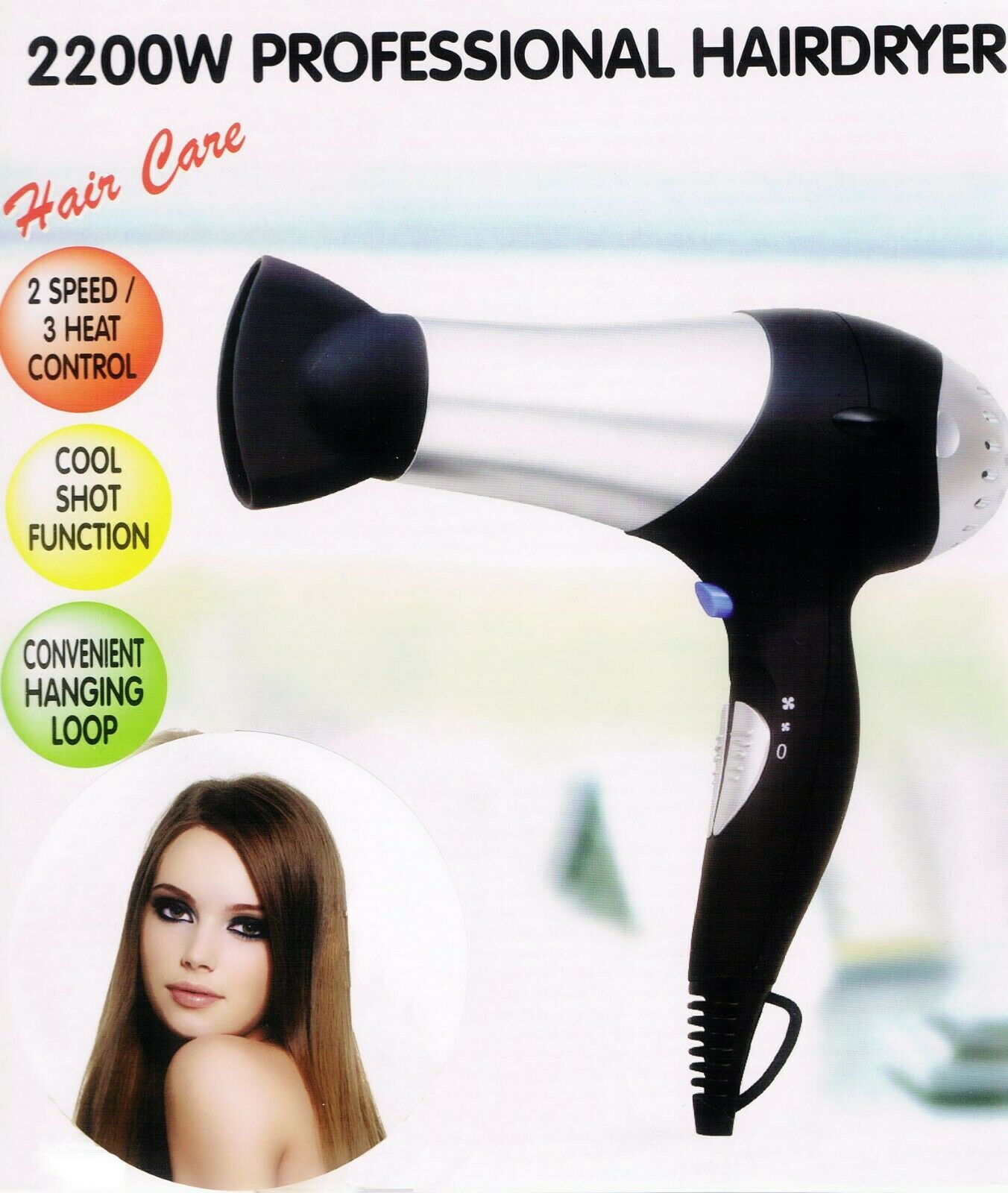 2200W Professional Hair Dryer 2 Speed 3 Heat Settings Concentrator Nozzle Black