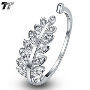 TTstyle 18K White Gold Plated Micro Paved CZ Bow Wedding Party Ring NEW Arrival