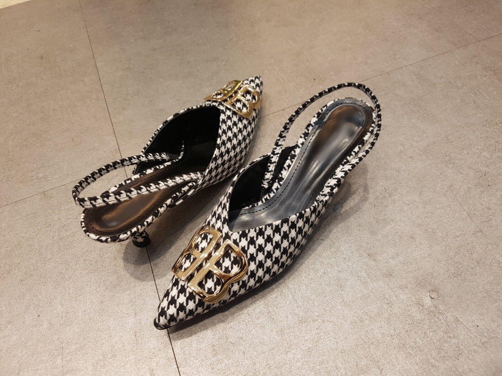 Zapatos de Hecho Mujer BB Charol Hecho de a Mano] mediados talón Houndstooth comprobar bombas Gatito cuchillo d2ec70