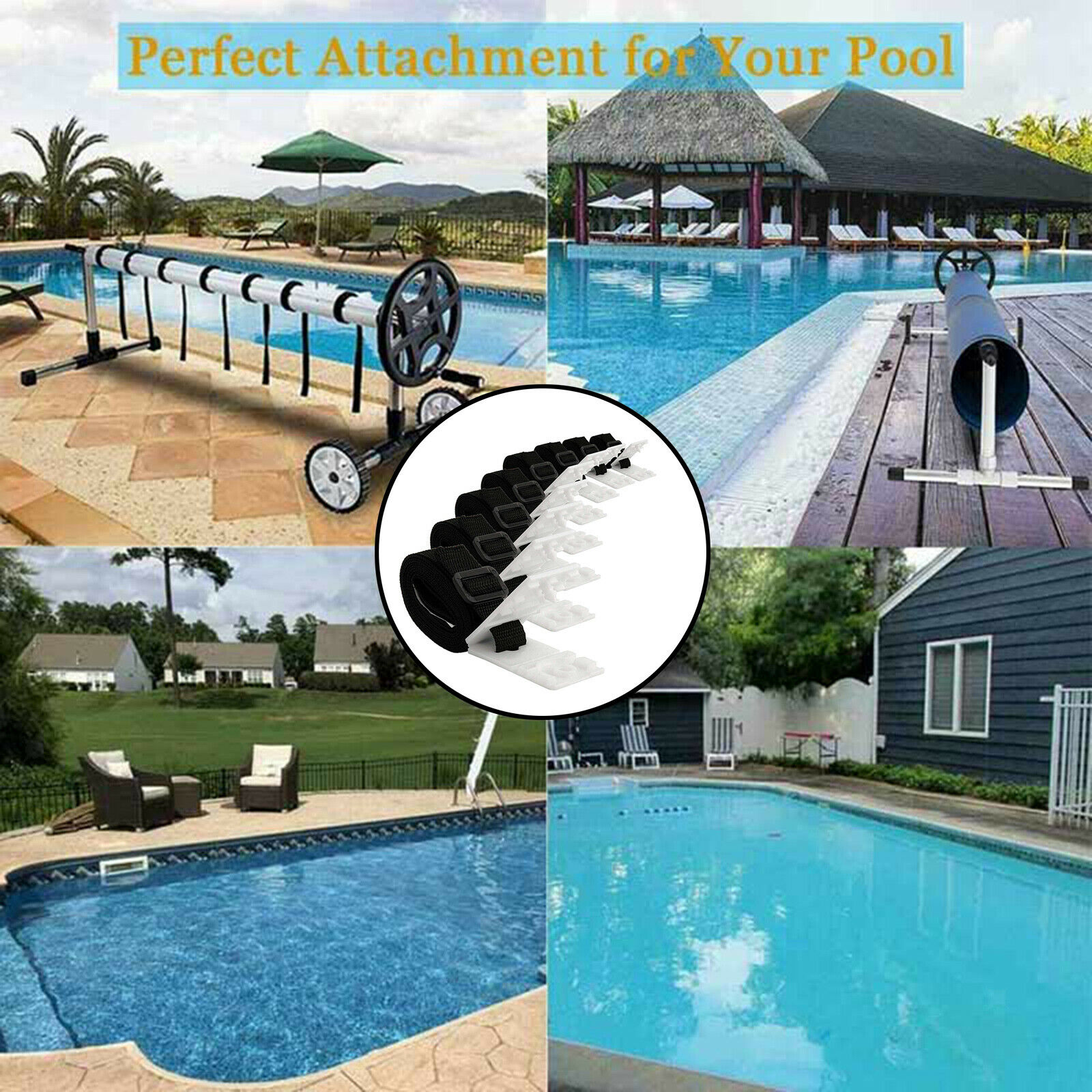 Pool Solar Cover Reel Attachment Kit Durable Pool Strapping Straps