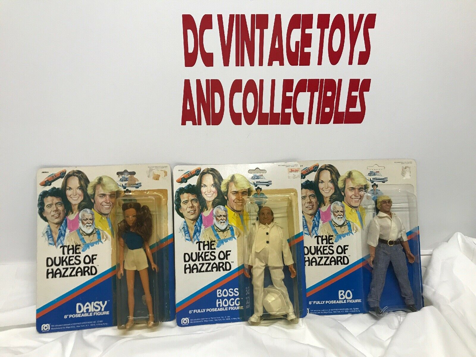 Vintage 1981 Mego THE DUKES OF HAZZARD 8  AF Set of 3(Bo, Daisy, Hogg)