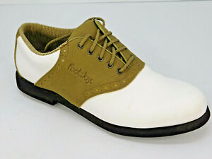 FootJoy-Greenjoys-Men-039-s-Spiked-Saddle-Golf-Shoes-White-Brown-48802-Size-8-5-M