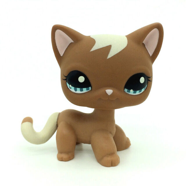 Littlest Pet Shop Brown Cat Hasbro LPS #1170 Blue Eyes Kitty Cream Curl Gift Toy
