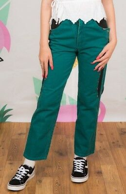 Preciso Vintage Turchese & Nero Vita Alta Rough Rider Denim Jeans Con Borchie Popper Gambe-mostra Il Titolo Originale